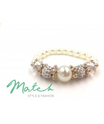 Bracelet crystal with pearl - White