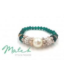 Bracelet crystal with pearl - Green
