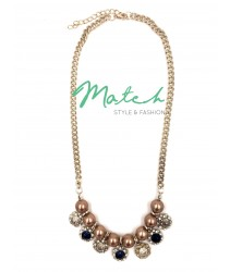 Necklace elegant seven round stones with pearls