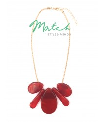Necklace casual five white geometric shapes