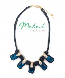 necklace casual black leather with five square blue stones and diamonds