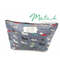 Korea designed handmade multi porch bag - Gray blue various cats