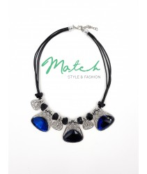 Necklace casual black leather silver  three blue crystal stones pendant