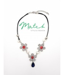 Necklace casual black leather silver three flowers pearls with one blue crystal stone