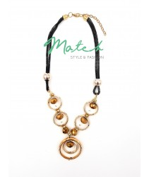 Necklace casual black chain brown gold circles