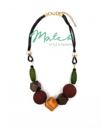 Necklace casual black chain wooden natural stones pendants