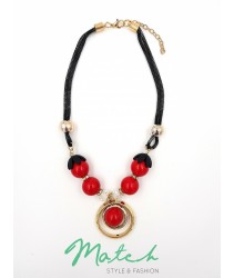 Necklace casual black chain red cherry pendants
