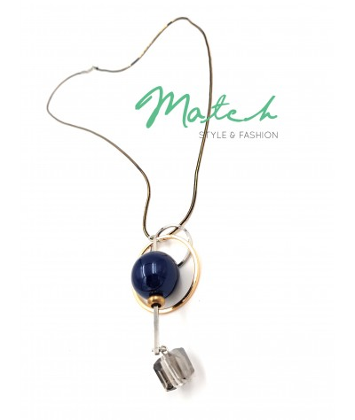 Long necklace korea style two circles dark blue diamond