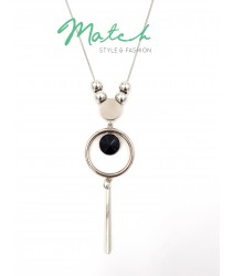 Long necklace silver circle beads
